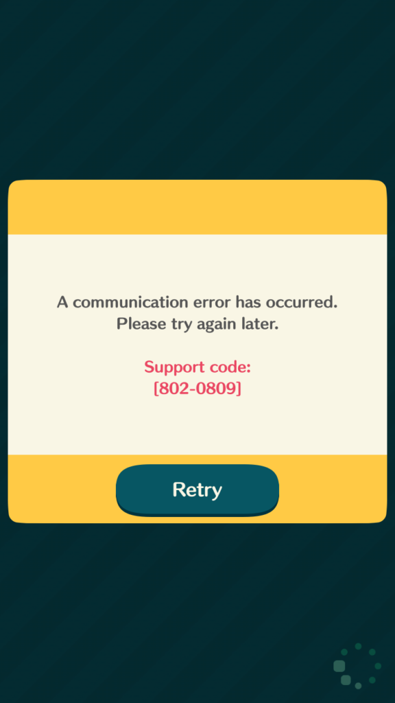 AC:PC Communications Error